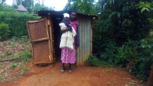 The Water Project:  Mama Karani Outside Her Latrine