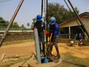 The Water Project:  Lining Up The Drilling Rod