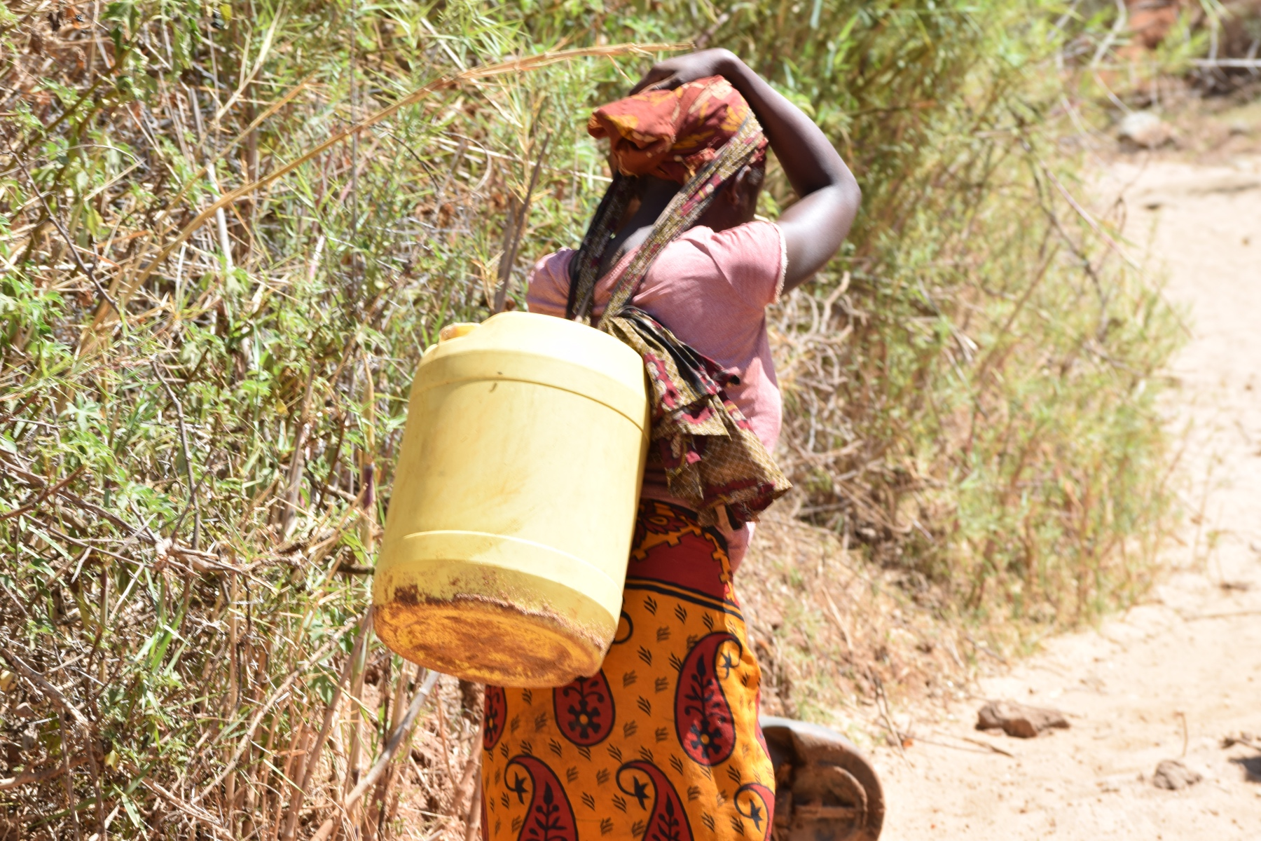 The Water Project : kenya18187-carrying-water-home