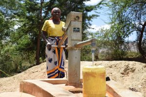 The Water Project:  Pumping Water From Well Constructed Last Year