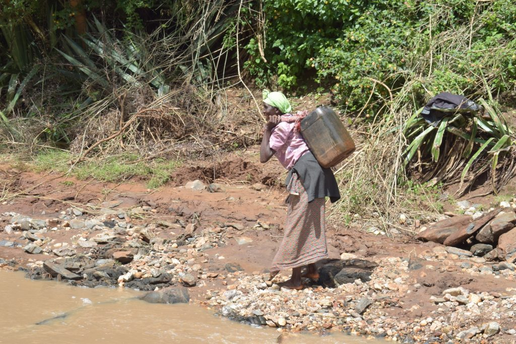 The Water Project : kenya18218-hauling-water-to-carry-home