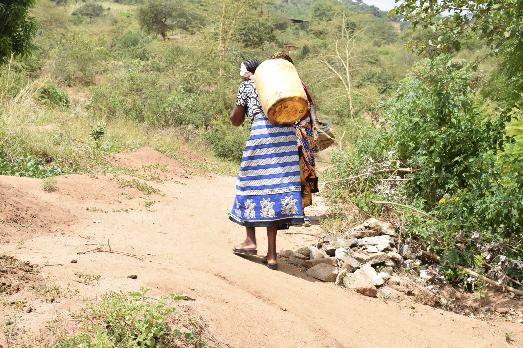 The Water Project : kenya18228-carrying-water-home