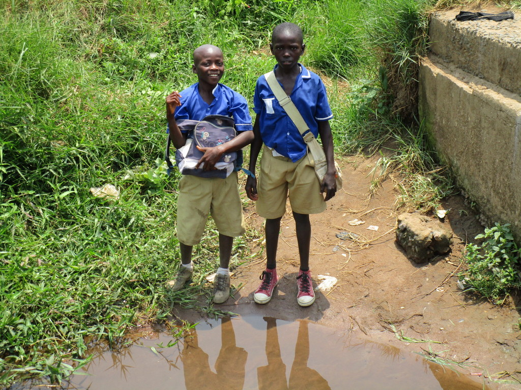 The Water Project : sierraleone18256-boys-stand-at-alternate-water-source-1
