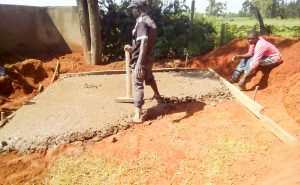 The Water Project:  Laying The Pit Latrine Foundation