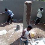 The Water Project: Kenneth Marende Primary School -  Plastering Rain Tank