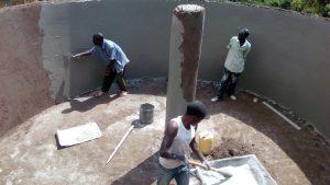 The Water Project:  Plastering Rain Tank