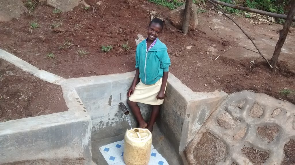 The Water Project : kenya18093-posing-with-protected-spring
