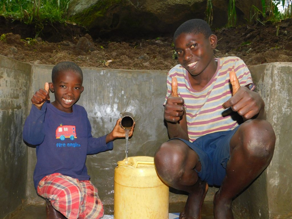 The Water Project : kenya18101-thumbs-up-for-clean-water