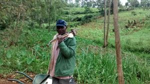 The Water Project:  A Senior Community Member Carrying His Tools After Participating In Harvesting Of Hardcore For Spring Construction