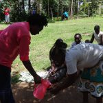 The Water Project: Masera Community, Ernest Mumbo Spring -  Handwashing Demonstration