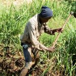 The Water Project: Musango Community A -  Community Member Digging Drainage