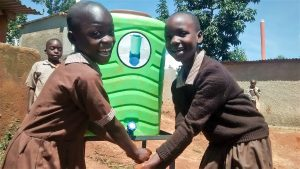 The Water Project:  Anjala And Belinda Washing Their Hands After Visiting The Latrine