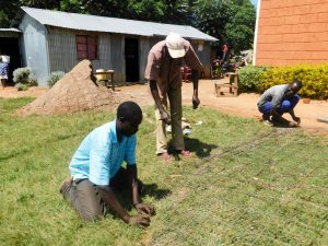 The Water Project:  Preparing Iron Mesh For The Wall