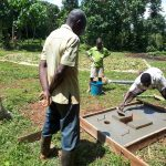 The Water Project: Mbande Community, Handa Spring -  Sanitation Platform Construction