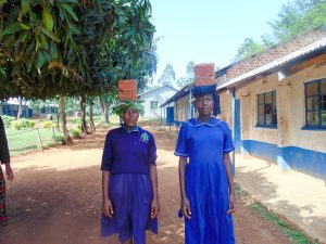 The Water Project:  Diana Makokha And Selestine Mwashi From Class Seven Helping Carry Bricks To Artisans