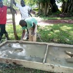 The Water Project: Irumbi Community, Okang'a Spring -  Sanitation Platform Construction
