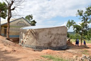 The Water Project:  Finished Tank And Gutter System