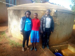 The Water Project:  Christine Luvandwa Poses With Vivian And Mr Millton At The Tank