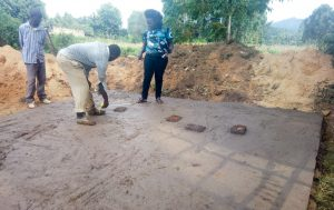 The Water Project:  Checking The Latrine Foundation