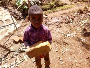 The Water Project:  A Little Boy Delivering A Brick To The Artisan