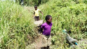 The Water Project:  Children Carrying Materials To The Artisan