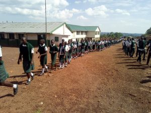 The Water Project:  Students Lined Up For Lunch At School
