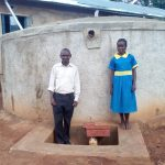 The Water Project: Ematsuli Primary School -  Zablon Kube With Winfred Mudesia At The Tank