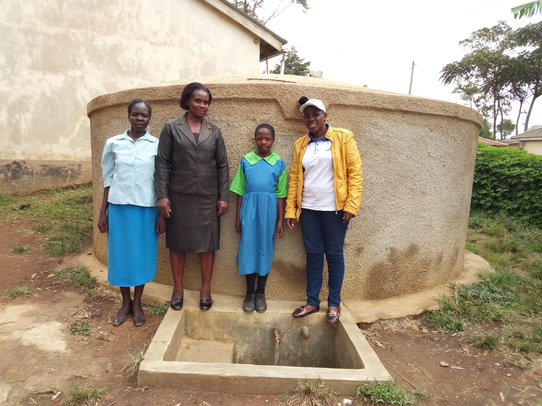 The Water Project : kenya4675-margaret-aduvukha-prudence-mbone-and-field-officer-janet-kayi