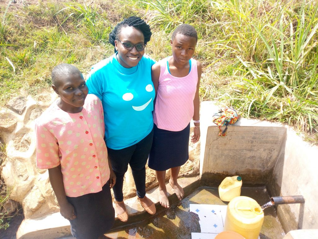 The Water Project : kenya4727-leah-joshua-field-officer-christine-luvandwa-and-milldred-lumbasi