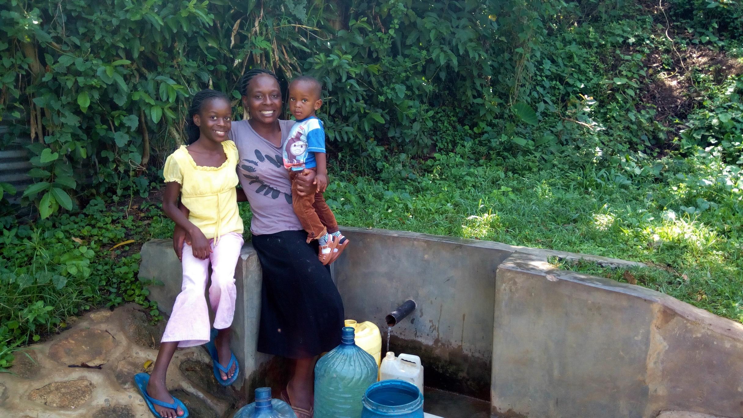 The Water Project : kenya4735-rice-russel-and-sarah-opanga
