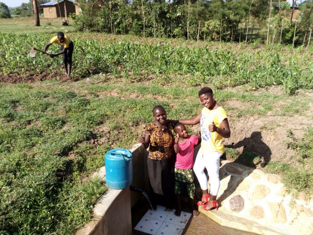 The Water Project : kenya4849-jentrine-nanzala-angeline-ainea-and-field-officer-jemmimah-khasoha
