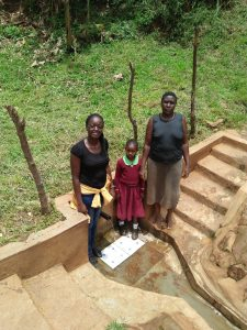 The Water Project:  Kenya Field Officer Olivia Bomji Michelle Andeka And Violet Khamalishi
