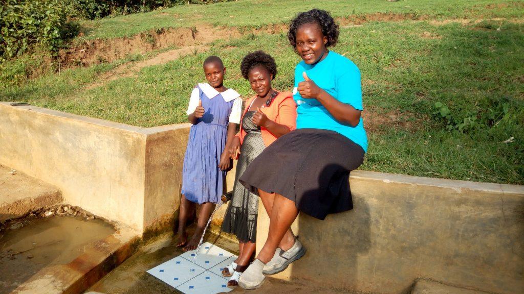 The Water Project : kenya4741-mercy-amonyole-velma-anjeche-and-field-officer-karen-maruti