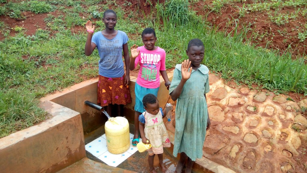 The Water Project : kenya4745-veneranda-imbayi-and-her-friends-at-the-spring