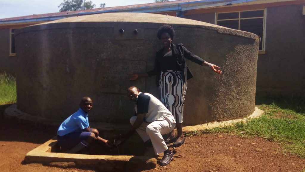 The Water Project : kenya4841-john-barasa-francis-owamu-and-field-officer-karen-maruti