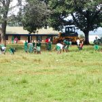 The Water Project: Bojonge Primary School -  Students Started Cleaning Upon Our Arrival