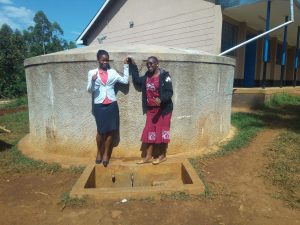 The Water Project:  Margaret Egesa And Field Officer Janet Kayi