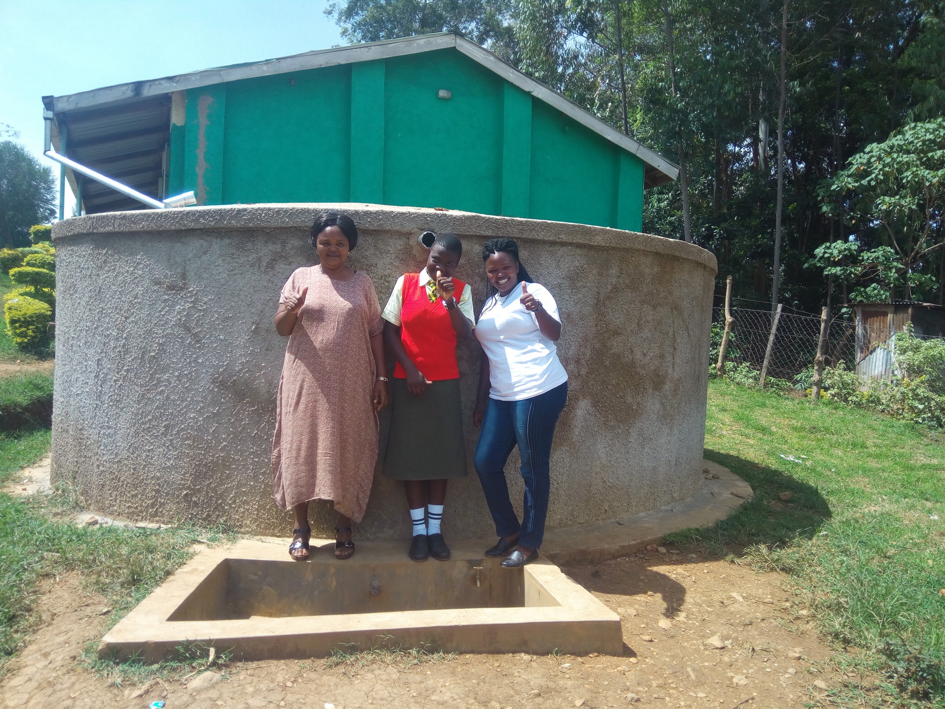 The Water Project : kenya4685-rita-meli-fidelia-ajwang-and-field-officer-jacklyne-chelagat