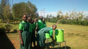 The Water Project:  Students Using Handwashing Stations