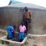 The Water Project: Maganyi Primary School -  Brevisious Lugadilo And Diana Mukhono With Field Officer Wilson Kipchoge