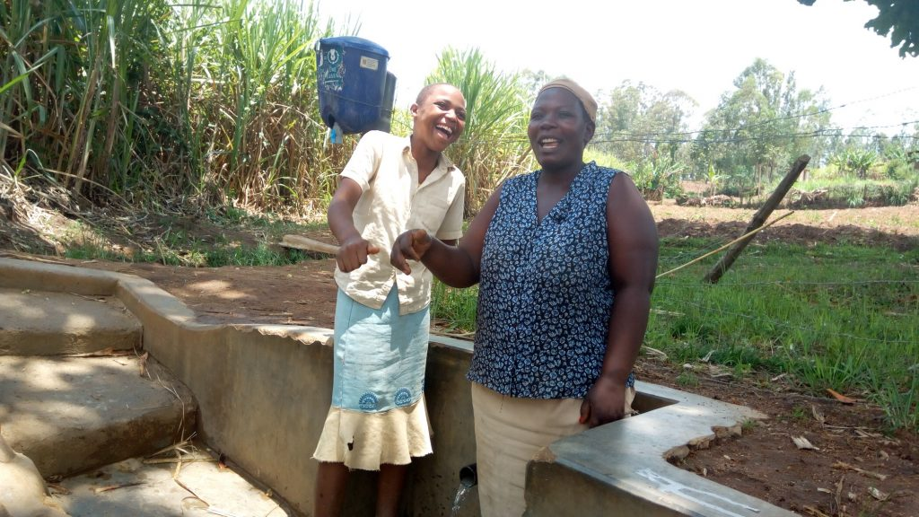 The Water Project : kenya4743-beatrice-kenneth-and-elizabeth-alumasa