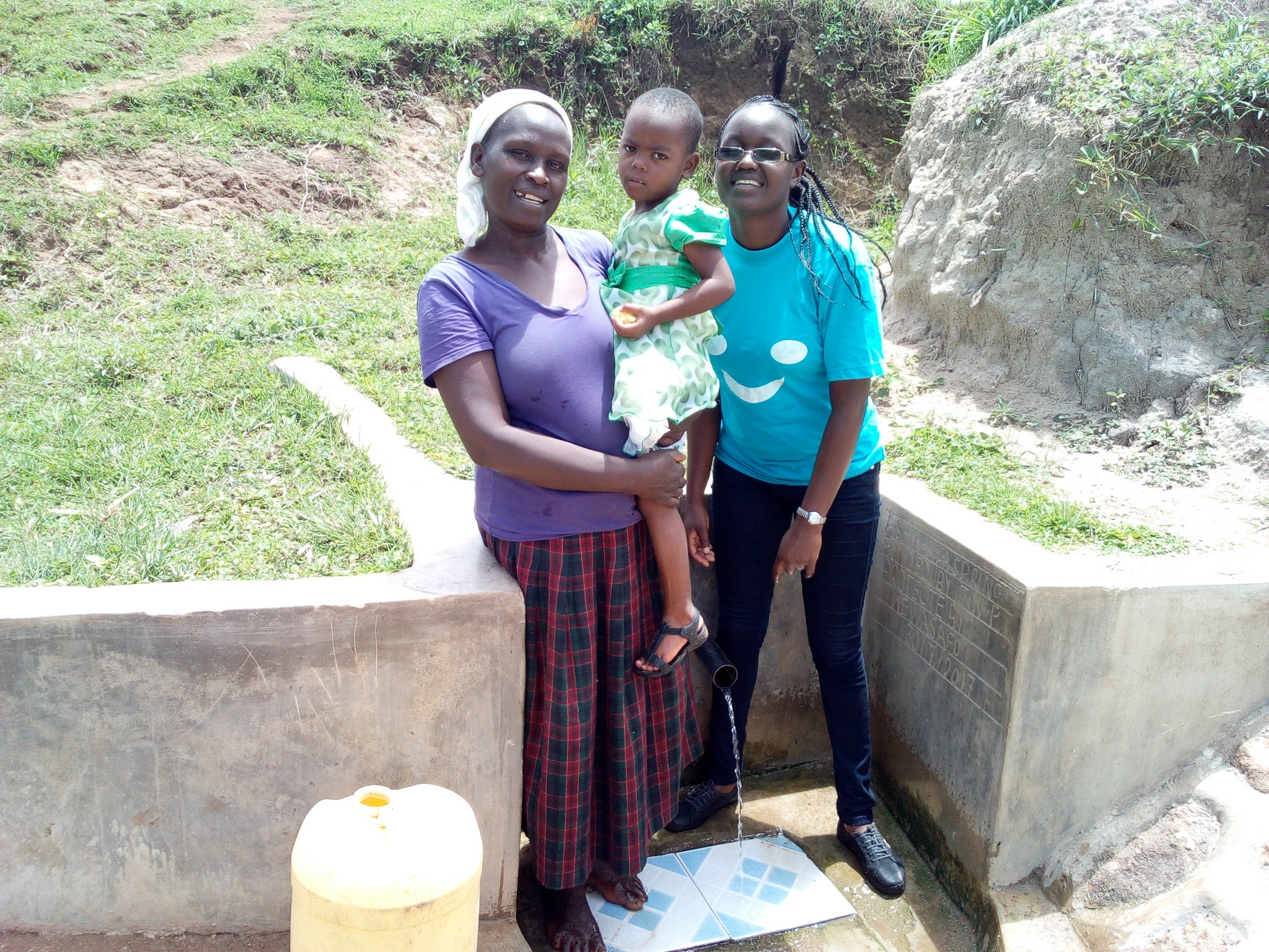 The Water Project : kenya4747-rebecca-askari-her-daughter-and-field-officer-joan-were
