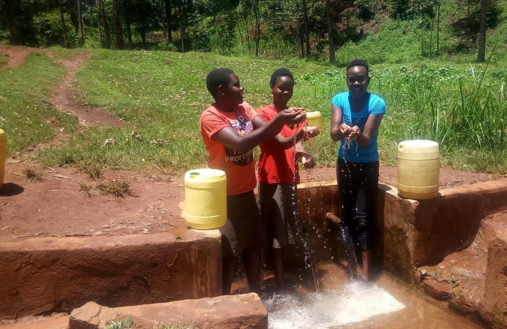 The Water Project : kenya4858-catherine-egehiza-beverlyne-akadanya-and-field-officer-lillian-achieng