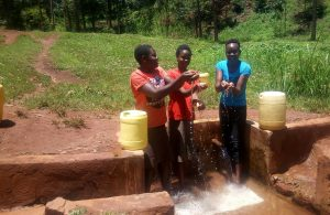 The Water Project:  Catherine Egehiza Beverlyne Akadanya And Field Officer Lillian Achieng