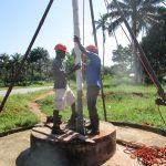 The Water Project: Komrabai Community, 35 Port Loko Road -  Installing Screen