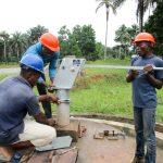 The Water Project: Komrabai Community, 35 Port Loko Road -  Pump Installation