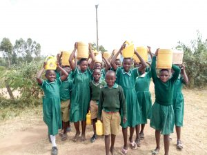 The Water Project:  Students Arriving At School With Water