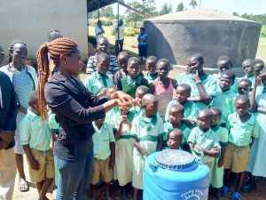 The Water Project:  Trainer Lynnah During Handwashing Session