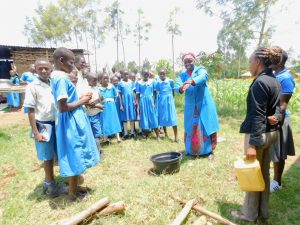 The Water Project:  Mwalimu Abash Participating During Handwashing Session