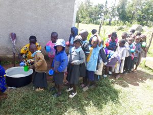 The Water Project:  Early Education Students Line Up For Lunch